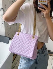 Fashion Purple Chain Quilted Embroidery Shoulder Bag