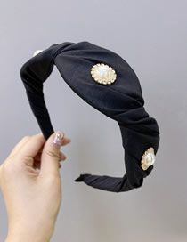 Fashion Black Pearl Wrinkled Fabric Diamond-wave Broadband Hair Band