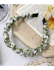 Fashion Flower Green Plaid Fold Small Daisy Cherry Flower Print Headband