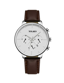 Fashion Brown With White Noodles Calendar Slim Stainless Steel Men's Leather Watch