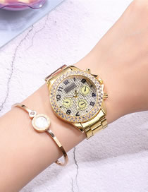 Fashion Golden Three-eye Diamond-set Gypsophila Quartz Steel Ladies Watch