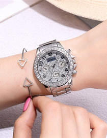 Fashion Silver Three-eye Diamond-set Gypsophila Quartz Steel Ladies Watch