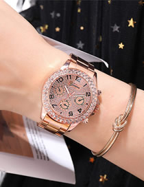 Fashion Rose Gold Three-eye Diamond-set Gypsophila Quartz Steel Ladies Watch