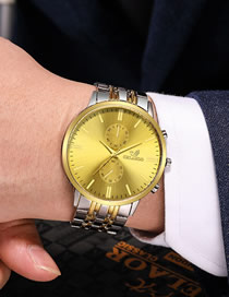 Fashion Golden Large Dial Steel Band Men's Quartz Watch