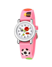 Fashion Pink 3d Floating Sculpture Tape Football Children's Watch