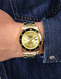 Fashion Golden Noodle Large Dial Single Calendar Men's Steel Band Quartz Watch