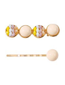 Fashion Beige Resin Alloy Crystal Hairpin Set