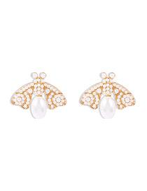 Fashion Pearl White Bee Diamond Pearl Earrings