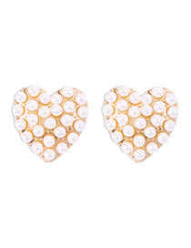 Fashion Golden Love Earrings With Pearl Alloy