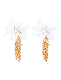 Fashion White Resin Flowers And Crystal Alloy Earrings