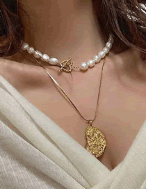 Fashion Golden Pearl Alloy Geometric Multilayer Necklace