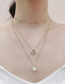 Fashion Golden Butterfly Pearl Multilayer Detachable Necklace