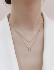 Fashion Golden Split Round Shell Double Necklace