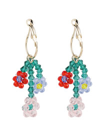 Fashion Color Mixing Contrast Crystal Flowers Hand-woven Daisy Earrings