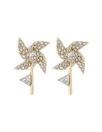 Fashion Golden Windmill Studded With Diamond Alloy Earrings