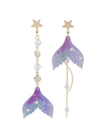 Fashion Purple Asymmetric Fishtail And Diamond Pentagram Earrings