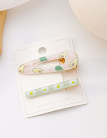 Fashion Avocado Two-piece Duckbill Clip With Fruit Flower Print