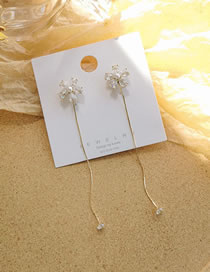 Fashion Golden Pearl Zircon Tassel Flower Alloy Earrings