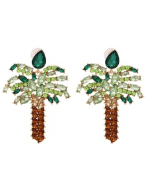 Fashion Green Diamond-plated Coconut Tree Gold-plated Earrings