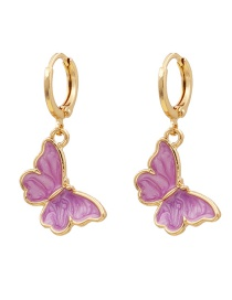 Fashion Purple Dripping Butterfly Alloy Earrings