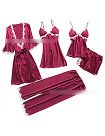 Fashion Red Wine Bathrobe Lace-side Tether Straps Contrasting Multi-piece Pajamas