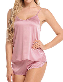 Fashion Pink Satin V-neck Lace Camisole Sleeveless Pajamas Set