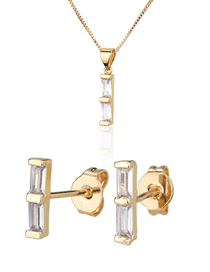 Fashion Golden Strip Gold-plated Diamond Earring Necklace Set
