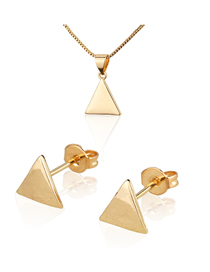 Fashion Golden Gold Plated Glossy Triangle Earring Necklace Set