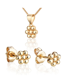 Fashion Golden Seven Ball Gold Plated Earring Necklace Set