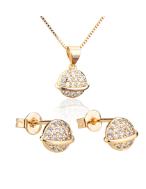Fashion Golden Planet Gold-plated Diamond Earring Necklace Set