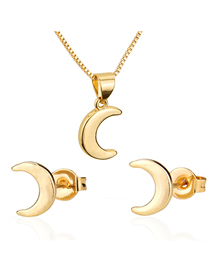 Fashion Golden Moon Gold-plated Stud Necklace Set
