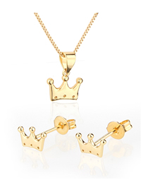 Fashion Golden Glossy Crown Gold Plated Stud Earrings Necklace Set