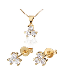 Fashion Golden Three-petal Flower Gold-plated Diamond Earring Necklace Set