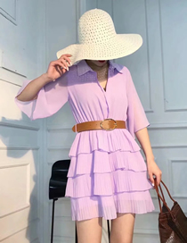 Fashion Purple Pleated Chiffon Dress With Belt