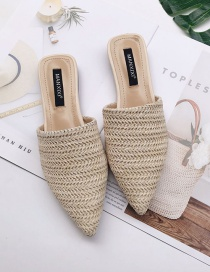 Fashion Apricot Pointed Braided Breathable Flat Half Slippers