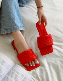 Fashion Red Square Head Open Toe Woven Flat Sandals