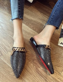 Fashion Black Diamond And Rhinestone Flat Heel Chain Pointed Sandals