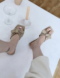 Fashion Khaki Flat Sandals With Square Bow Bow