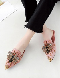 Fashion Pink Pointed Rivets Bee And Diamond Toe Cap Half Slippers
