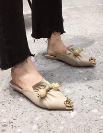 Fashion Apricot Metal Rhinestone Pointed Flat Bottom Baotou Sandals And Slippers