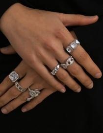 Fashion White K Chain-shaped Geometric Mosaic Acrylic Square Ring Set
