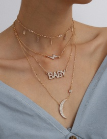 Fashion Golden Asymmetric Meniscus Square Tassel Rhinestone Letters Lightning Multi-layer Necklace