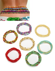 Fashion Color Mixing Handmade Beaded Rice Beads Contrast Color Waist Chain Multi-layer Suit