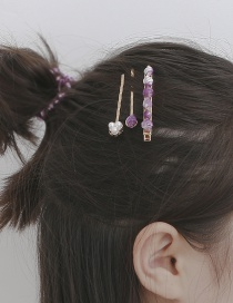 Fashion Conch Purple Conch Shell Geometric Single Row Alloy Hair Clip Set