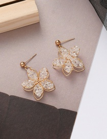 Fashion Golden Hollow Crystal Flower Alloy Earrings