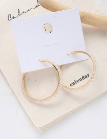 Fashion White Crystal Large Circle Alloy Resin Earrings