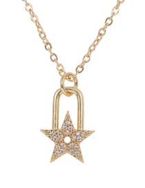 Fashion Golden Copper-set Zircon Pentagram Lock Necklace