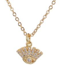 Fashion Golden Copper-set Zircon Eye Necklace