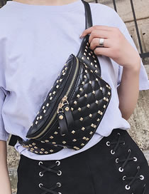 Fashion Black Studded Diamond Single Shoulder Crossbody Bag