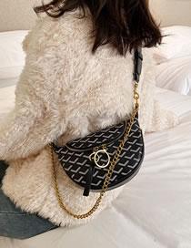 Fashion Black Pleated Chain Shoulder Messenger Dog Tooth Bag